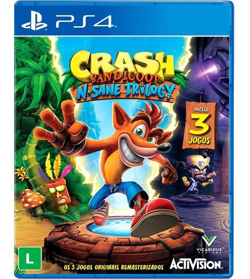 Crash Bandicoot N. Sane Trilogy 3 Jogos Ps4 Mídia Digital