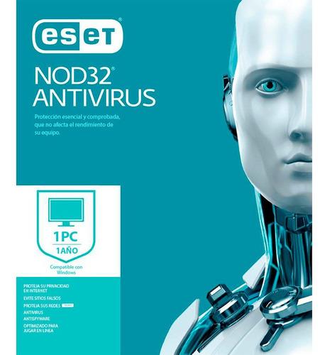 Imagen 1 de 3 de Eset Antivirus Nod32 1 Pc 1 Año- Digital