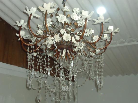 Lustre De Ferro De Flores Rico Em Cristal Gigante Antigo
