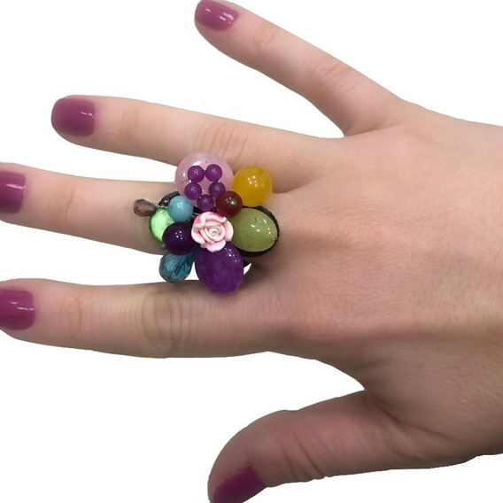Anel Feminino Colorido + Pedras Naturais Ajustável Artesanal