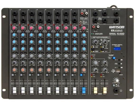 Mesa De Som 10 Canais P10 Bal C/ Usb Play /fx/+48v/ 2 Aux