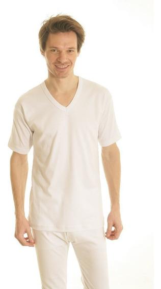 Camiseta Interlok Algodon Peinado M/corta Escote V