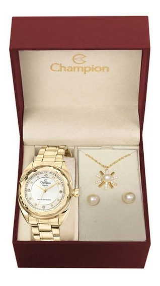 Kit Relógio Champion Feminino Cn27189w Com Colar E Brincos