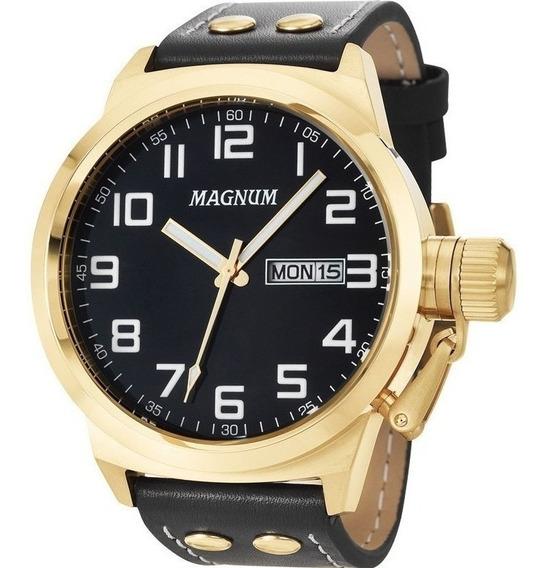 Relógio Magnum Masculino Dourado Ma32756u A Prova D´água