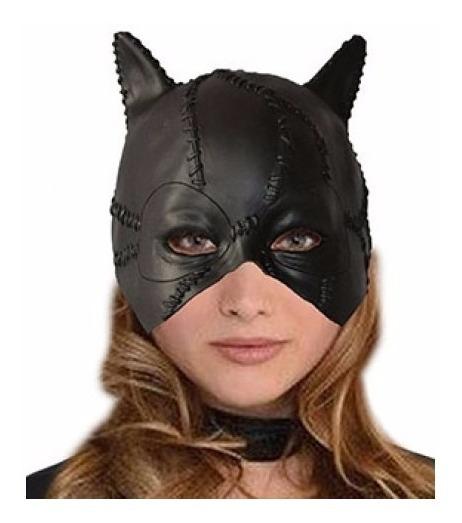 Máscara Gatubela Mujer Gato Látex Negra Cotillon Halloween