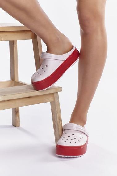 Crocs Crocband Platform Mujer- (light Grey /rose) (barely Pink )