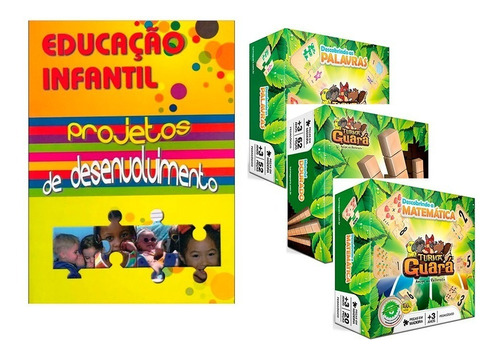 Livro Educação Infantil + Jogos Pedagógicos Madeira 134 Pçs