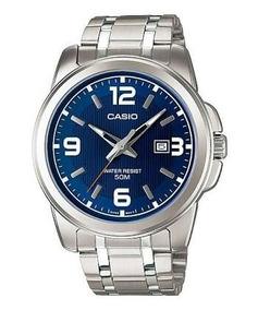Reloj Casio Modelo Mtp - 1314 Metálico Caratula Azul