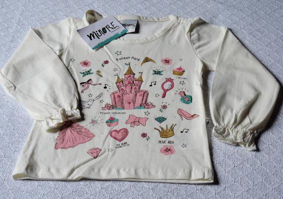 Linda Blusa Camiseta Manga Longa Infantil Tam.1 (12-18 Meses