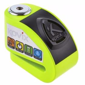 Trava De Disco De Freio Moto Com Alarme Kovix Cor: Verde