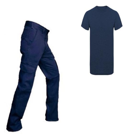 Pantalon Cargo Azul Con Remera Azul