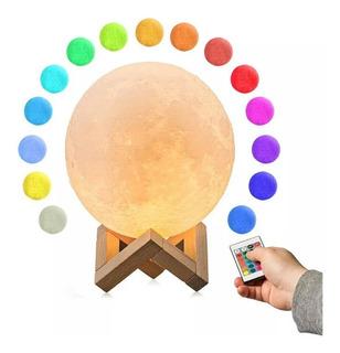 Lámpara Luna 16 Multicolor 15 Cm Con Control El Mejor Precio