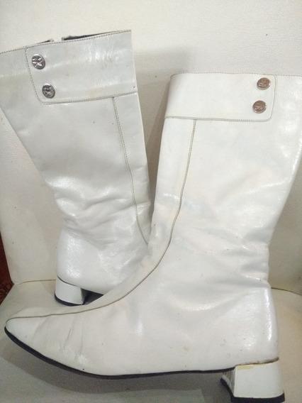 Botas Caña Alta Mujer Cuero Blanco Vintage Sarkany