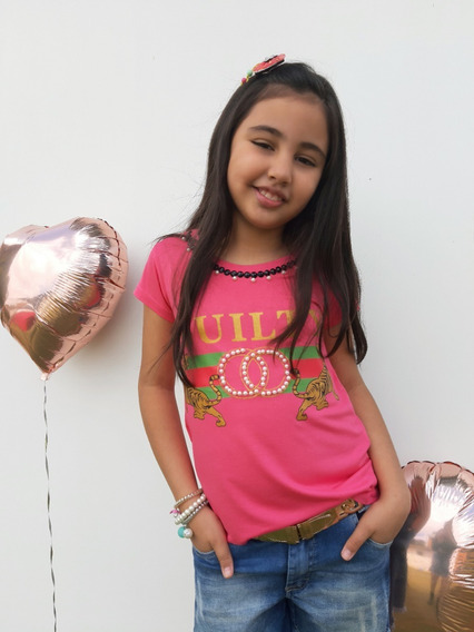Camiseta Blusa Infantil Femininas Bordadas.