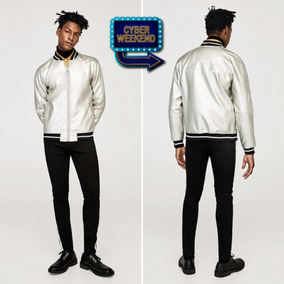 Casaca Bomber Jacket Zara Color Plateada Talla M Para Hombre