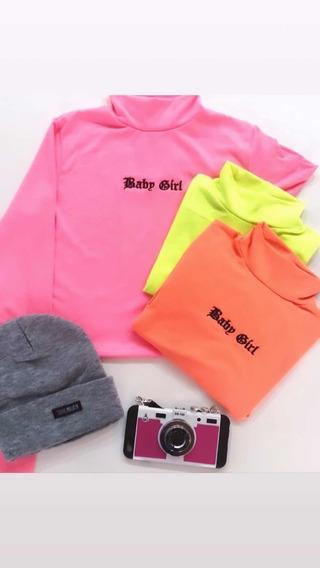 Polera Neon Fucsia Rosa Moda Envios Mujer Baby Girl Remera