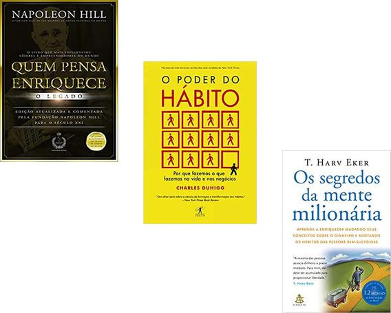 Livro Quem Pensa Enriquece+ Poder Do Habito+ Mente Milionári