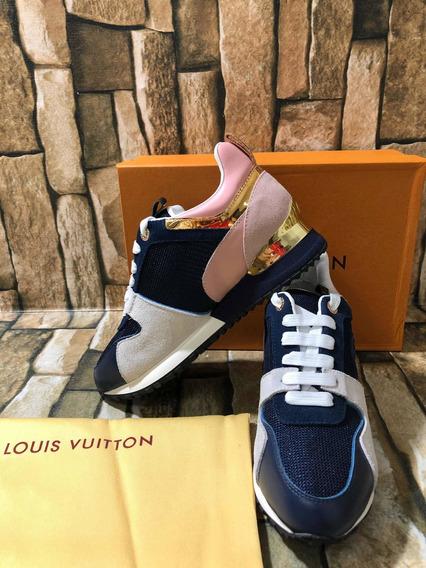 Tenis Louis Vuitton Run Away Dama Azul Rosa