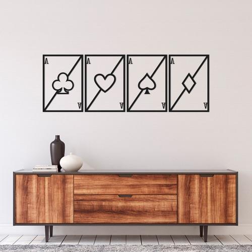 Imagem 1 de 2 de Kit 4 Quadros Decorativos 60cm Baralho Naipes Cartas Em Mdf