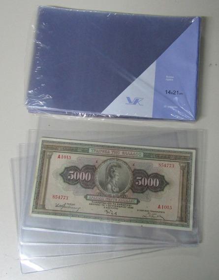 10 Sobres Plásticos Para Billetes 21 X 14 Marca Vk