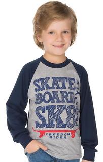 Camiseta Manga Longa Raglan Infantil Menino Meia Malha