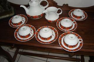 Jogo De Chá Antigo, Porcelana Renner, Decoração Floral