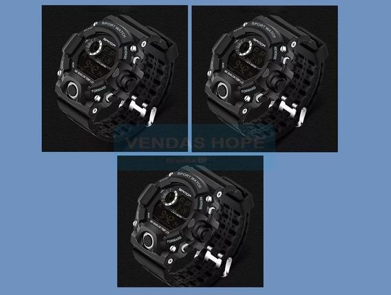 Kit 3 Relógio Sanda Preto Grande Militar Resistente