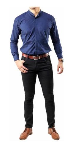 Pantalon Para Hombre De Mezclilla Negro Skinny De Vestir Mercado Libre