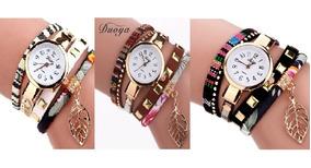 Relógio Feminino Duoya Tecido Folha De Luxo Esporte Vintage