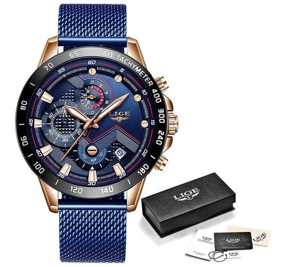 Relógio Masculino Lige 9929 Pulseira Em Aço Inox Fecho Mes