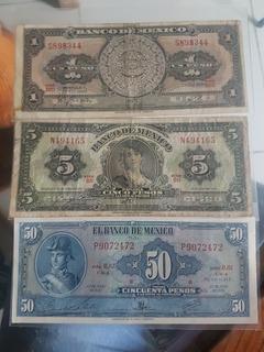 Billetes Antiguos Mexico, 1 Peso, 5 Pesos Y 50 Pesos