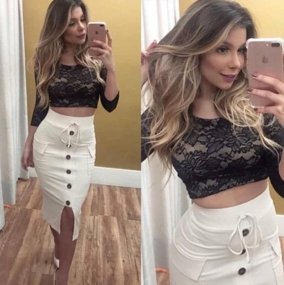 Saia Colada Branca Blogueira Calçados Roupas E Bolsas Com
