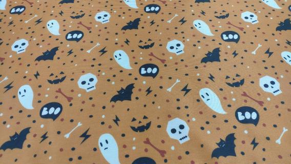 Tela Disfraz Decoración Halloween 1,5ancho Naranja Estampada
