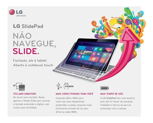 Notebook 2 X 1 LG Slidepad 11t540 Com Defeito Na Tela Touch