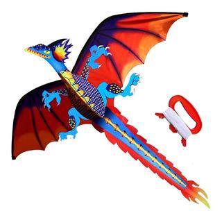Cometa Dragón Clásico,niños Adultos Cuerda Y Manija