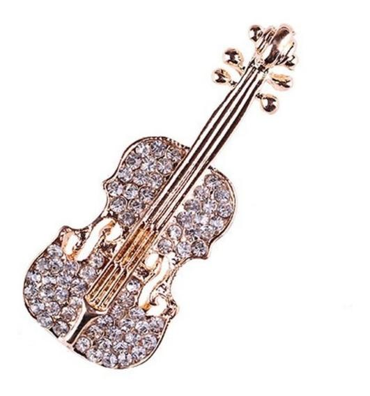 Broche En Forma De Violín Con Cristales Swarovski