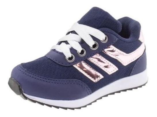 Tenis Infantil Feminino Menina Azul E Rosa Botinho 3td1