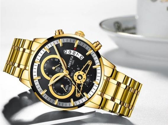 Relógio Nibosi Masculino Dourado Original Luxuoso Inox