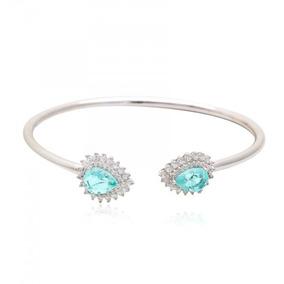 Bracelete Feminino Prata 925 Topázio Azul Festa