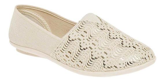 Zapato Casual De Mujer Beige Oro 059-000