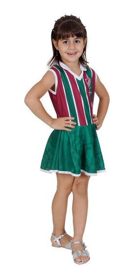 Novo Vestido Fluminense Infantil Tricolor Torcida Baby