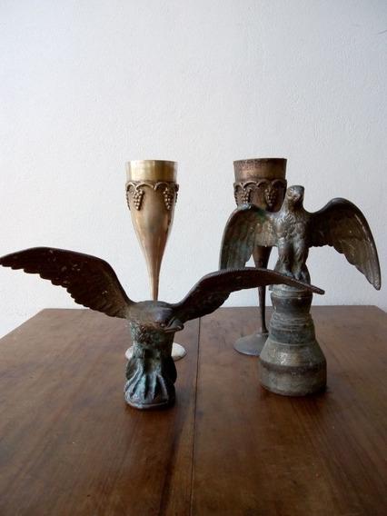 Lote Antigüedades Figuras De Metal Varios Águila Copa Ritual