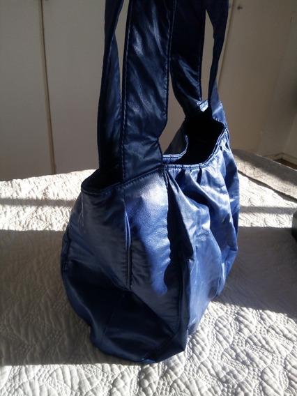 Cartera Tipo Bolso Azul Francia Metalizado