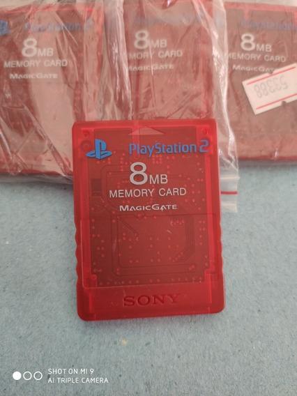 Memory Card Ps2 Vermelho Transparente Relíquia