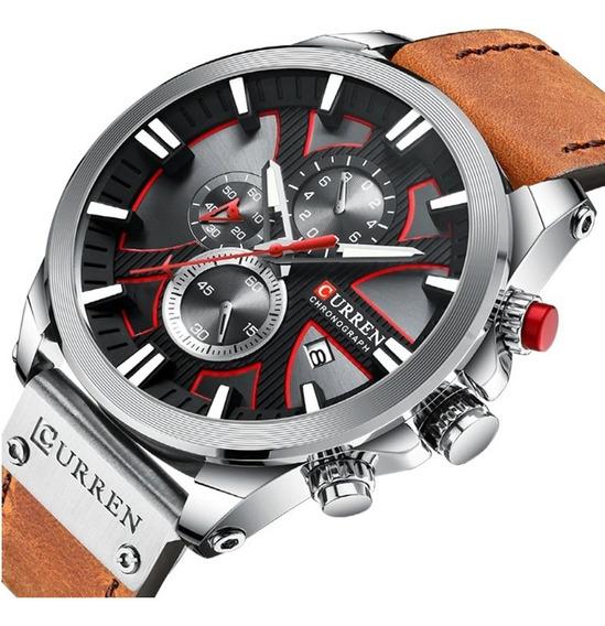 Relógio Masculino Curren 8346 Luxo Couro Social Casual