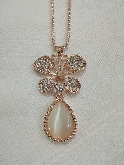 Collar Largo Dije Mariposa Cristal Swarowsky Oro Rosa 14k