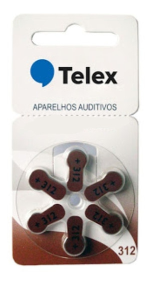 60 Pilha 312 Telex Para Aparelhos Auditivos