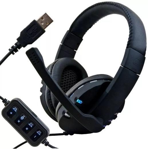 Headset Ps4 Ps3 Microfone Gamer Usb Pc Muda De Cor Leds