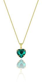 Gargantilha Folheada A Ouro E Pingente De Coração (verde)