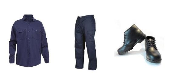 Kit Camisa Pantalon Azul Oscuro Cargo Botin Economico Art2